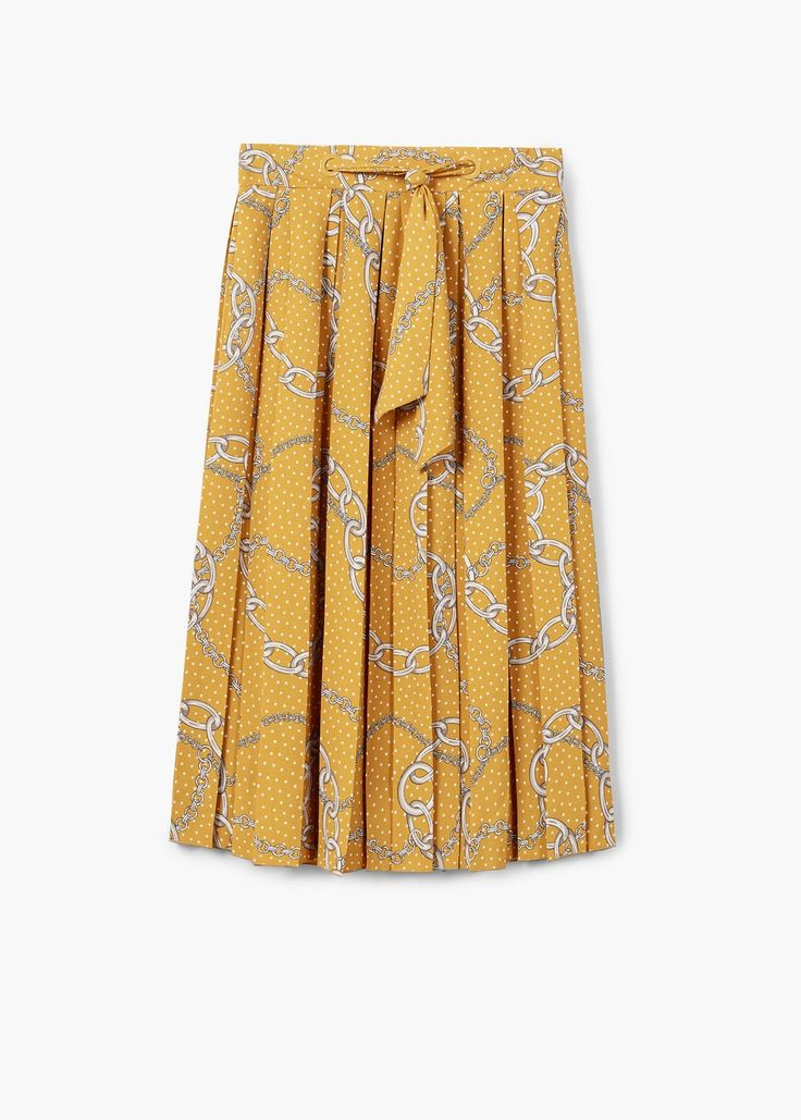 Chain print pleated skirt - Women | MANGO USA