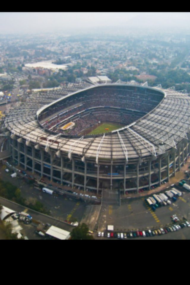 Vista aerea Estadio Azteca. Espectacular foto de uno de los estadios mas grandes del mundo. Mexico DF.