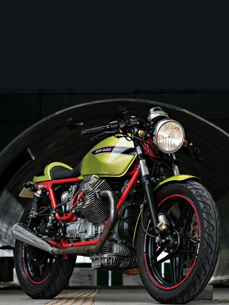 Moto Guzzi's iconic red and lime-green paint combination looks stunning on this V65-based cafe racer from Poland. It's no trailer queen, either—owner Radek Polak is a regular visitor to the racetrack! Read more about the build at http://www.bikeexif.com/moto-guzzi-v65-cafe-racer