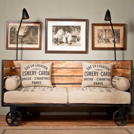 Industrial chic vintage trolley sofa on wheels vintage - Decoracion industrial vintage ...