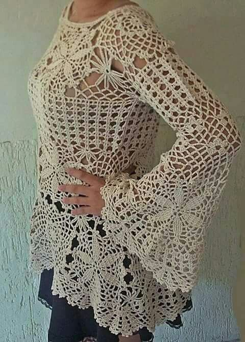 Crochet lace top bell sleeves