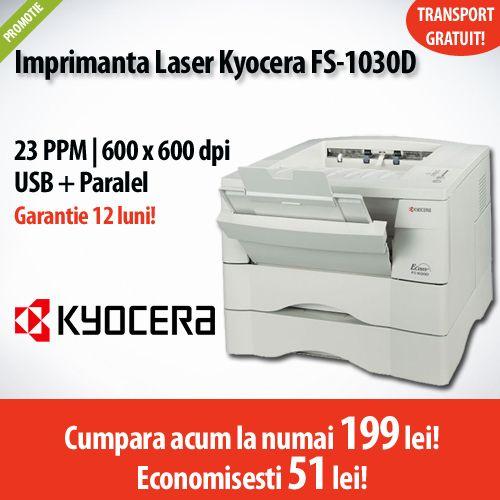 Nou in oferta PCShop!  Imprimanta laser Kyocera FS-1030D, la numai 199 lei!  Comanda acum si economisesti 51 de lei!