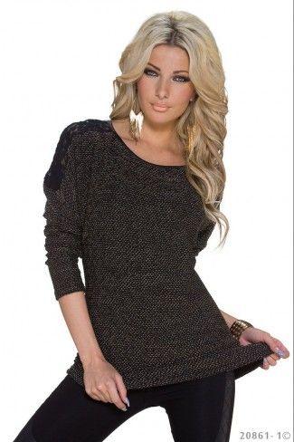 Πλεκτό πουλόβερ με δαντέλα - Σκούρο Καφέ