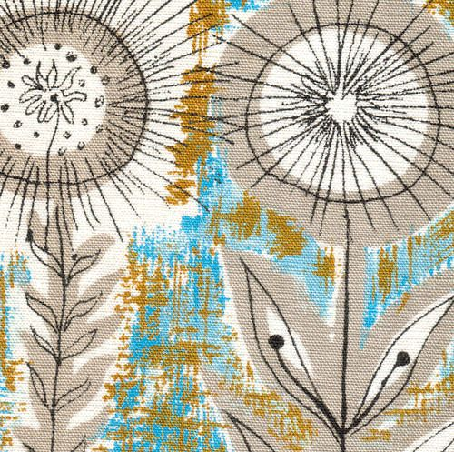 50s textile design, sunfowers