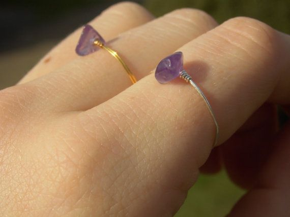 Dainty Amethyst Ring with Silver/Gold Plated by ThePurpleRosebud