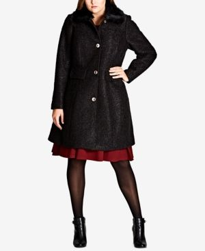 907f5848cfc CITY CHIC TRENDY PLUS SIZE FAUX-FUR-TRIM TEXTURED WALKER COAT.  citychic   cloth