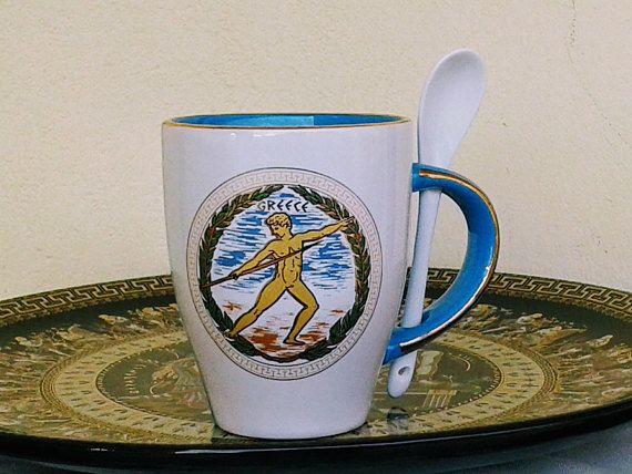 Ancient Olympic Games Light Blue & White Ceramic Mug 24 Karat  #olympicgames #ceramicmug #coffeemugs #teamugs #spoon #greek