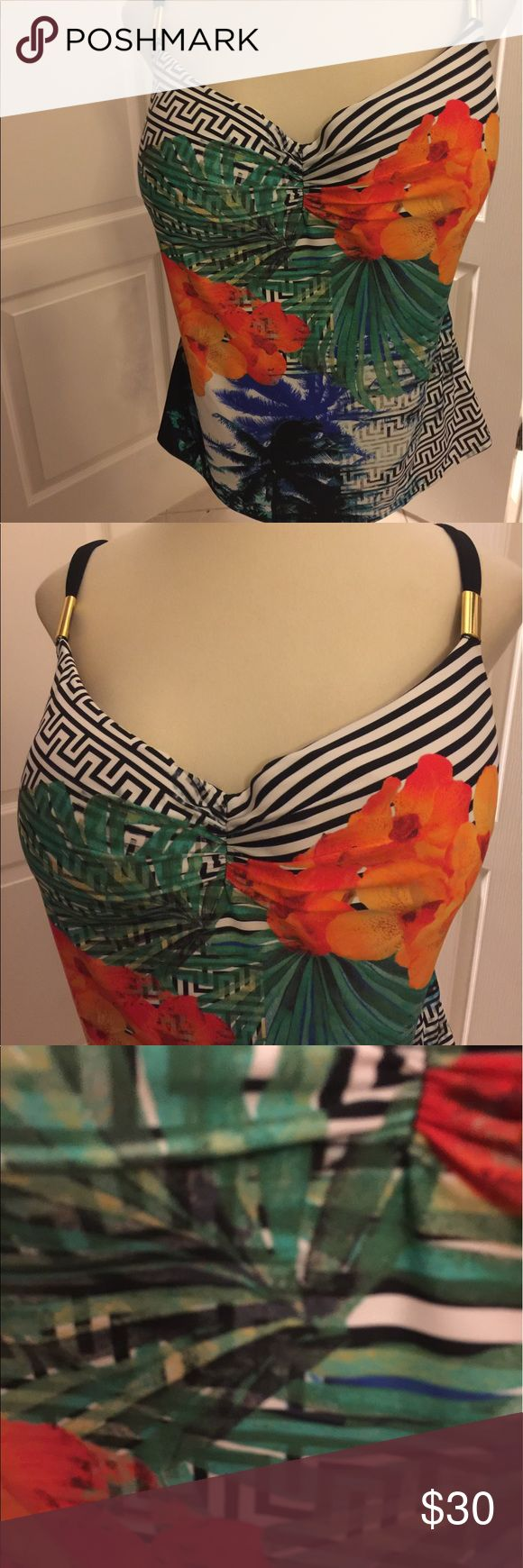 Cacique Swim Top Bulit -In Bra NWT 44 DDD Gorgeous Designer floral Swim Top only with gold trim and solid black back .. very slenderizing on ..online order.. too large for me lane bryant Cacique Swim