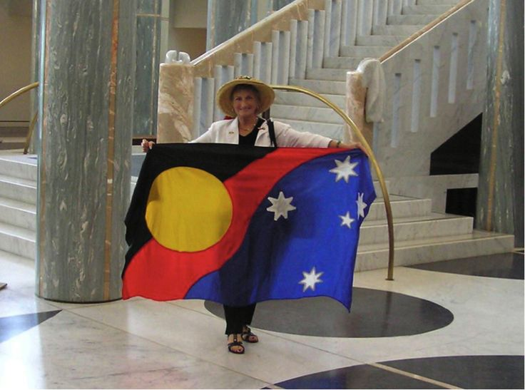F7 Maureen Riches Change the Aussie flag Both Indigenous and non-Indigenous Australians loved this design during the Bridge Walks for Reconciliation and the National Apology to the Stolen Generations  #Ausflags
