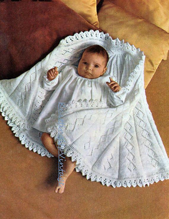 0e17e415b Baby Knitting Pattern pdf Vintage Semi Circular Half Circle Shawl ...