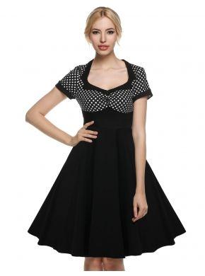 ACEVOG Siyah On Açıklık Kadınlar 1950'li Nokta Kısa Kollu Swing Midi Parti Elbiseleri