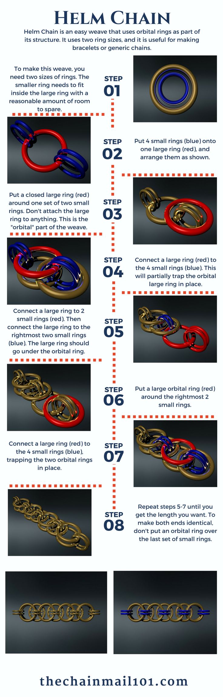 Learn how to make the Helm Chain chainmail weave with this helpful infographic! - thechainmail101.com/helm-chain