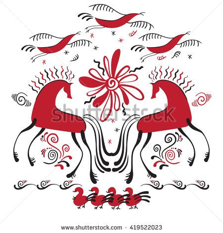 Vector illustration with hand drawn horses in traditional russian folk style. Mezen painting.