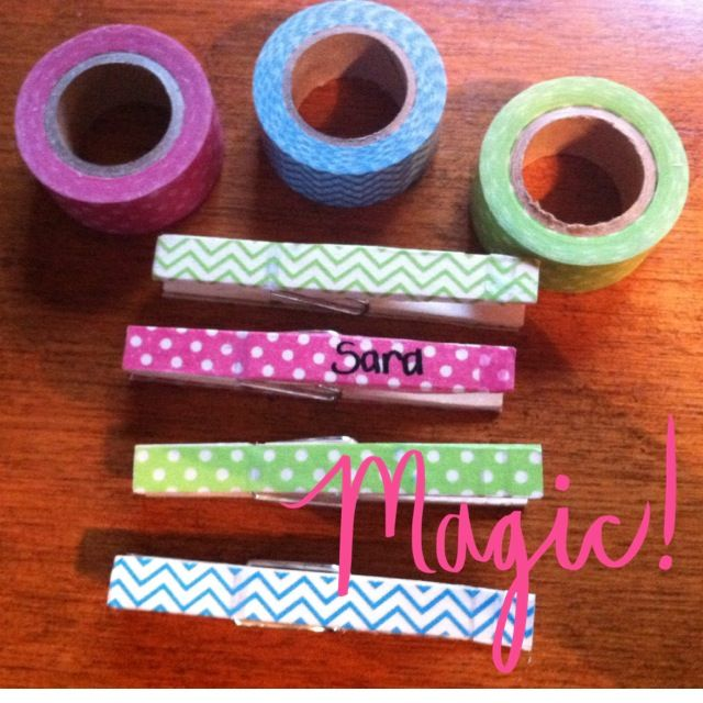 I will use these for my Clip Chart in my classroom! Clothespins and Washi Tape!! Love them!
