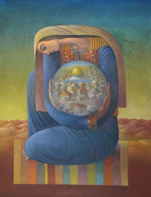"""Untitled - Sliman Mansour. I think it has a title: something like """"dreams of a city""""."""