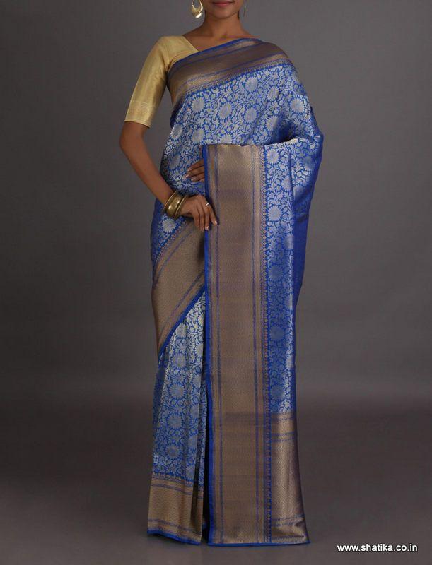 Zeenat Cool Silver Bloom Real Zari Brocade #BanarasiSilkSaree