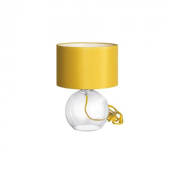 Abajur Incolore M, base transparente, fio e cupula amarelo  Medidas: 25x34cm,  Material: Vidro e tecido,  Cor: Transparente e amarelo