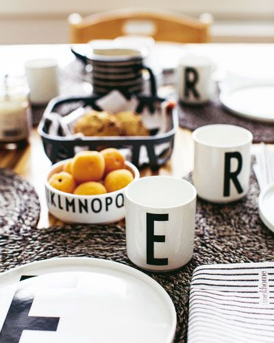Design Letters porcelain with typography by Arne Jacobsen. www.designletters.dk