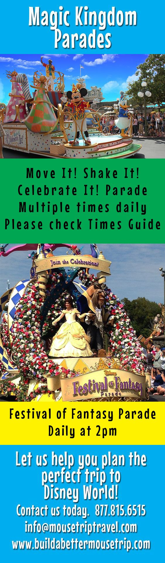 """Magic Kingdom Parade schedule - Disney World. Includes """"Move It!, Shake It! Celebrate It!"""" and the Festival of Fantasy afternoon parade. Check Magic Kingdom Times Guide (found near the park maps) for exact schedule during your trip. For Disney World ride closures, crowd warnings, and special event information, see: http://www.buildabettermousetrip.com/crowds-closures-special-events/ #FestivalofFantasy"""