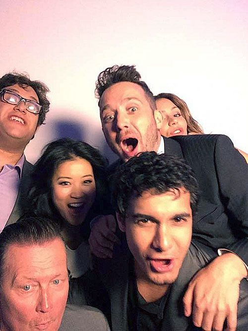 The cast of Scorpion photobombing at the 2014 Summer TCA Tour