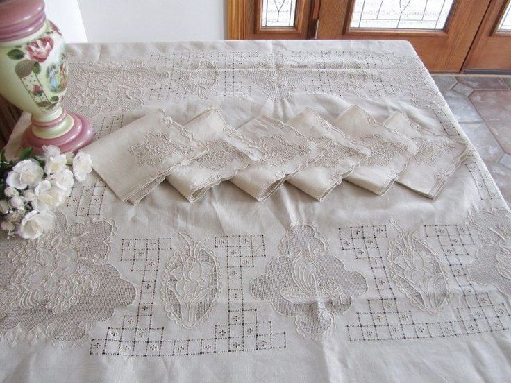 Vintage Pictorial Embroidered Needle Lace Banquet Tablecloth Napkins Fruit Boat   eBay