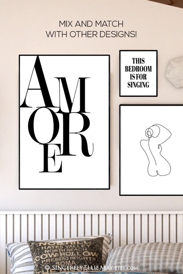 Amore Bedroom Signs Romance Quote Love Poster Wall Art Black Etsy Love Posters Poster Wall Art Romance Quotes
