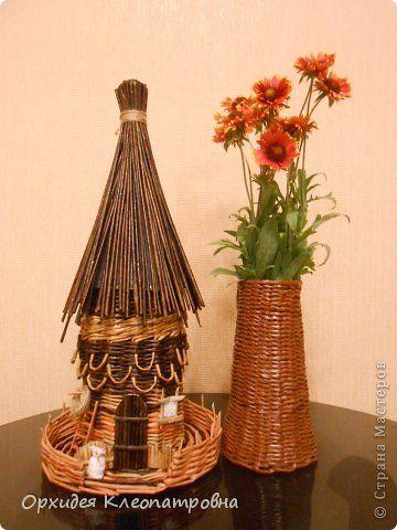 Поделка изделие Плетение Домик в стиле Мельница Бумага газетная Трубочки бумажные фото 1
