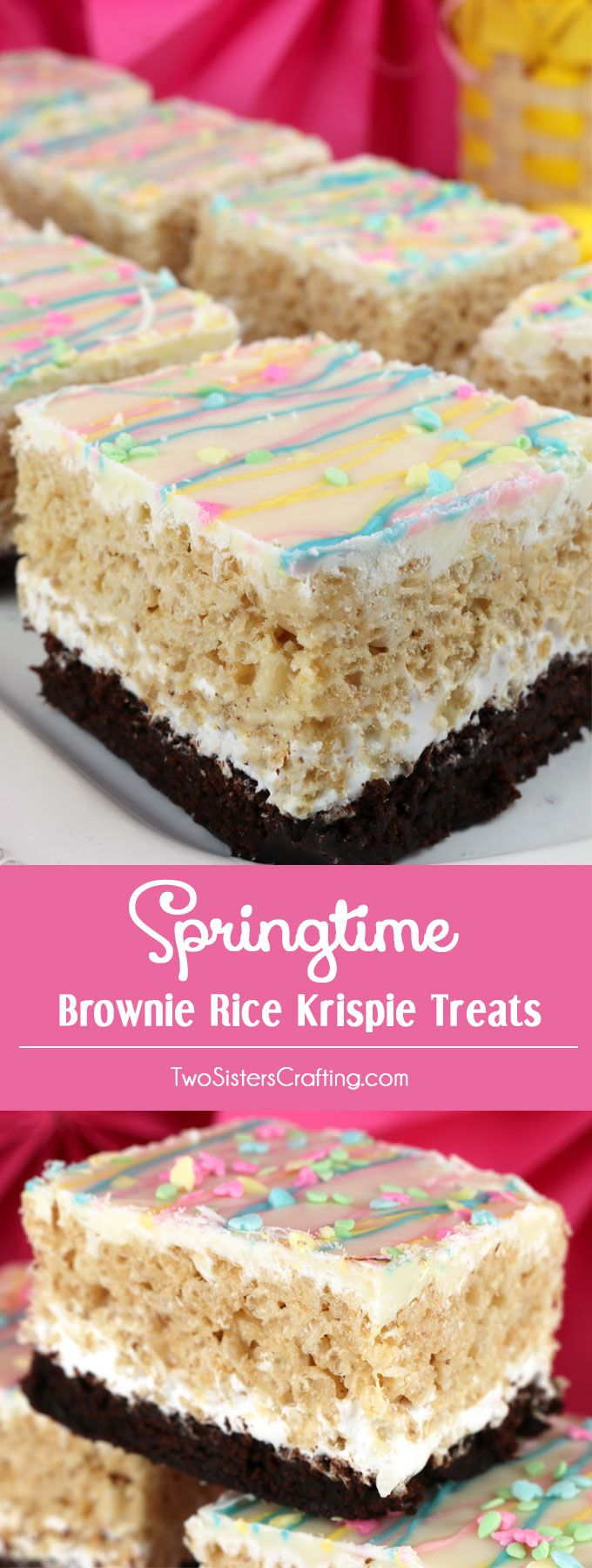 Gotta make dairy free tho Springtime Brownie Rice Krispie Treats - your family will love these beautiful and yummy dessert bars featuring Brownies and Rice Krispie Treats. These colorful Easter Desserts will be a fun addition to your Spring baking list. These pretty and yummy Rice Krispie Treats are perfect for a Easter Brunch, Easter Dinner or a family get-together. Pin this great Easter treat for later and follow us for more fun Easter Food Ideas.