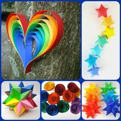 Rainbow Party Set Decor for Art Party Rainbow by OrigamiDelights