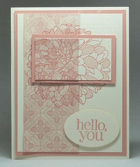 A layered split negative card in Crisp Cantaloupe with Venetian Romance designer series paper.