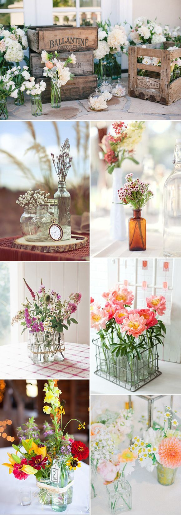 Variados adornos con flores para tu mesa de boda