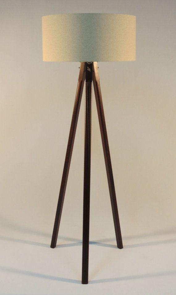 Handmade Tripod Floor Lamp Wooden Stand In Middle Dark