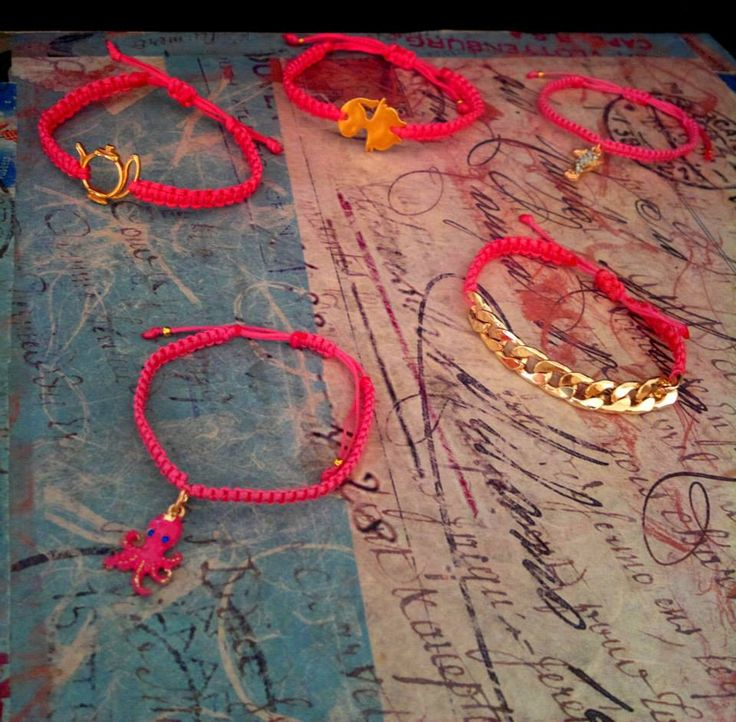 pink macrame with gold elements