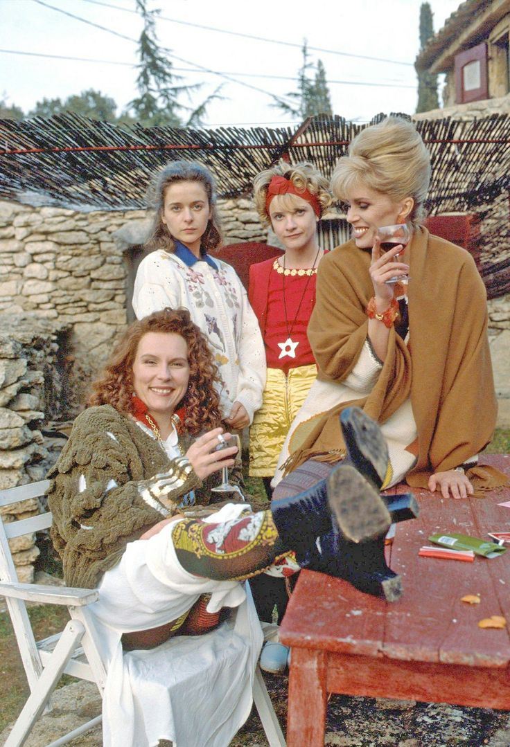 Jennifer Saunders as 'Edina Monsoon', Julia Sawalha as 'Saffron Monsoon', Jane Horrocks as 'Bubble' & Joanna Lumley as 'Patsy Stone' in Absolutely Fabulous (first run: 1992-1996, BBC One)