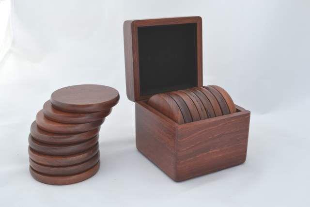 Set of eight Drink Coasters in #Jarrah Presentation Box $72.60.  www.ozwood.com.au