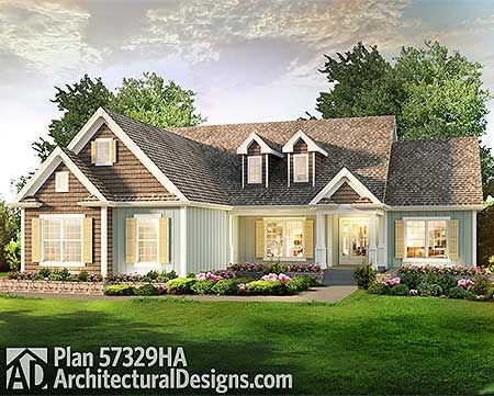 Plan 57329HA: 3 Bed Country Ranch Home Plan