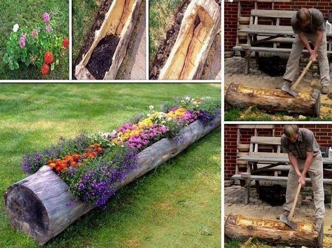fioriera ricavata in tronco