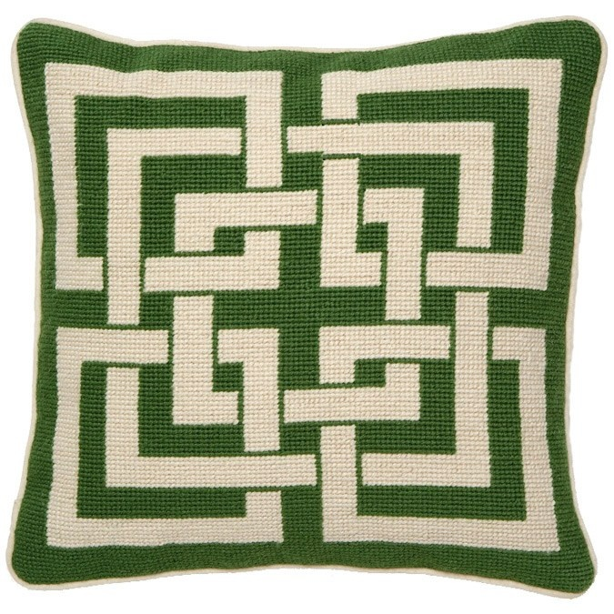 FR throw pillow idea - Trina Turk Shanghai Links Green Needlepoint Pillow