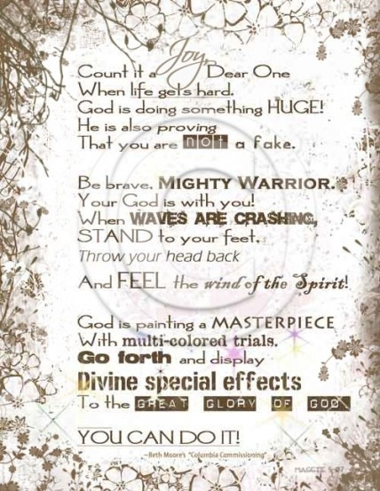 Beth Moore--I was at this conference when she closed in this prayer. It was so powerful! www.Gods411.org
