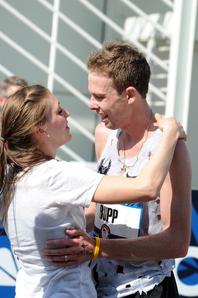 Galen Rupp Photos Photos - Keara Rupp (L) embraces husband Galen Rupp after he finshes first in the  U.S. Olympic Team Trials Mens Marathon on February 13, 2016 in Los Angeles, California. - U.S. Olympic Team Trials - Marathon