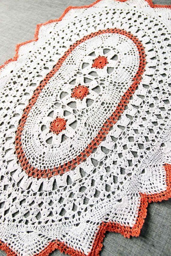 Vintage Crochet Doily handmade white and orange red cotton