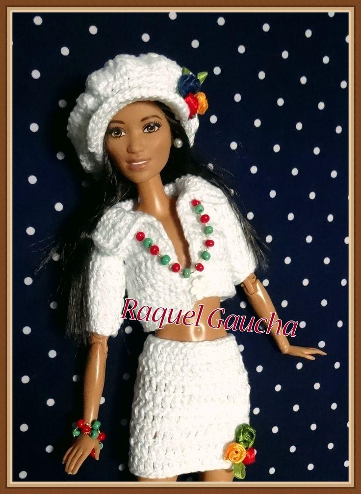 rachelcrochet.wordpress.com #Doll #Roupa #Crochet #Barbie #Muñeca #Falda #Saia #Pollera #Bolero #Blusa #Chapéu #Boina #Sombrero  #Anne #RaquelGaucha