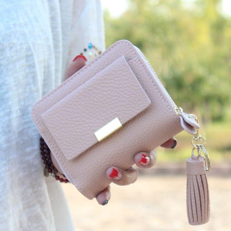 Women short wallet small tassel purse female zipper coin bag mini women coin purse brand designed lady key wallet