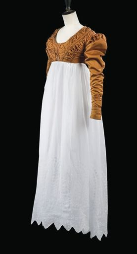 Spencer (and Skirt): ca. 1815, the bodice piped and trimmed with gathered silk and strapwork, the skirt embroidered in India for the European market.