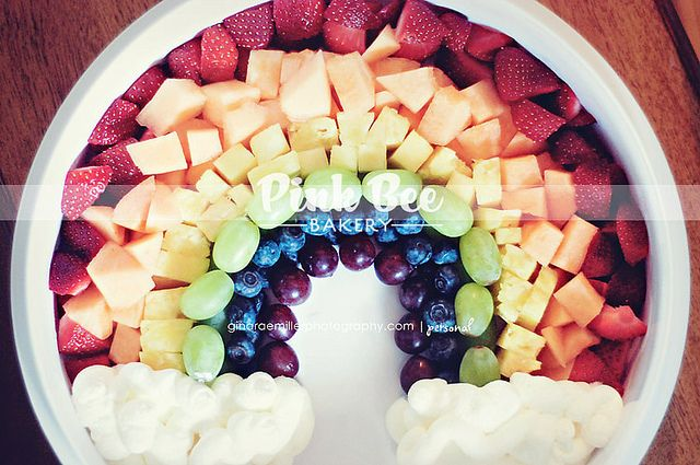 Fruit Rainbow! great alternative to the plain fruit tray!!!