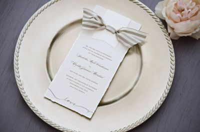 Michaels.com Wedding Department: Pearl Deckle Invitation Convey causal elegance with our customizable print-at-home Pearl Deckle Invitations. Add a swatch of colored paper, punch holes, and your own ribbon bow. Stamp on a design at the bottom for balance.Courtesy of Gartner Studios®.