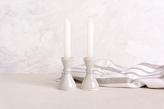 Ceramic Candle Holder, Ceramic Candlestick Holder, Sabbath Pottery Candlestick, Judaica Home Decor Gift, Passover Gift, Wedding Jewish Gift  An elegant piece of gray decor this ceramic candlestick adds a classic and clean look on any table. Enjoy the glow of candlelight with my handmade