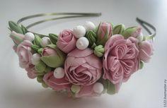 """Ободок """"Винтаж"""" - розовый,украшения ручной работы,ободок для волос,подарок"""