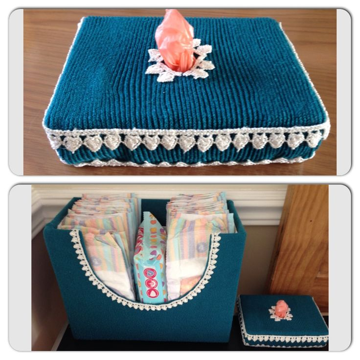 Upcycled box and jumper. Turned into a nappy sack dispenser. Also matching nappy storage box.
