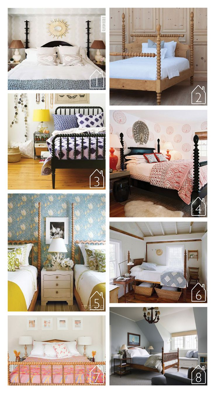1.  Noir Trading  Ferret Bed via  Lonny    2.  Gwendoline Spindle Bed  by  Bradshaw Kirchofer Handmade Furniture   3. Jenny Lind Bed by  Land of Nod   4. Room by  Tilton Fenwick   5. Via  Elle Decor   6. Via  Better Homes and Gardens   7. Beach Cottage by  Sarah Scales   8. House on Martha's Vineyard by  Ferguson & Shamamian | THE PLACE HOME
